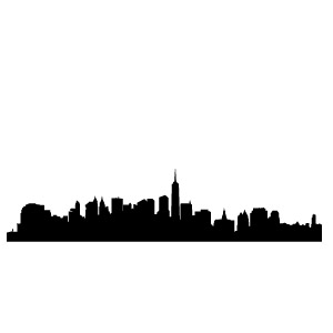 Dark blue and brown bedroom - New York City Outline 171 My Wall Skins